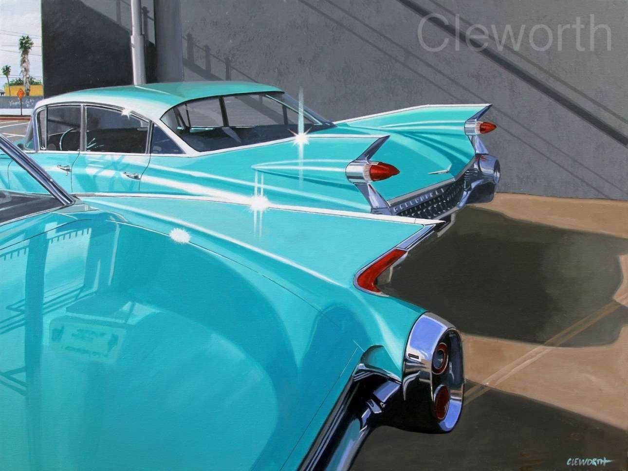 Κάντιλακ, του '50. Οι σχεδιαστές τις έφτιαξαν, ο ζωγράφος απέδωσε τα χρώματα και τις γραμμές τους. Τέχνη στην τέχνη