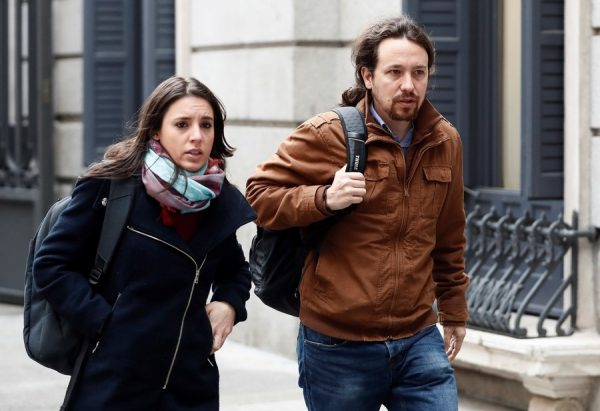 epa06605209 Leader of Podemos Party, Pablo Iglesias (R), and party's spokeswoman, Irene Montero (L), advocates of the derogation of the revisable life sentence, arrive to the Lower house to attend the Parliamentary session held to derogate the custodial sentence in Madrid, Spain, 15 March 2018. This punishment was passed in the Lower House, only backed by the People's Party (PP), in March 2015, and allows judges to impose a revisable life sentence to cases of extreme nastiness such as murders. Now, after Basque Nationalist Party (PNV) proposed to put it down, several parties support the derogation of this life sentence with the exception of PP, UPN and Coalicion Canaria who have shown their total support. According to the parties that support eliminating this type of sentence, prisoners should have a chance to reintegrate society as the Spanish Constitution establishes. EFE/ Mariscal EPA/MARISCAL