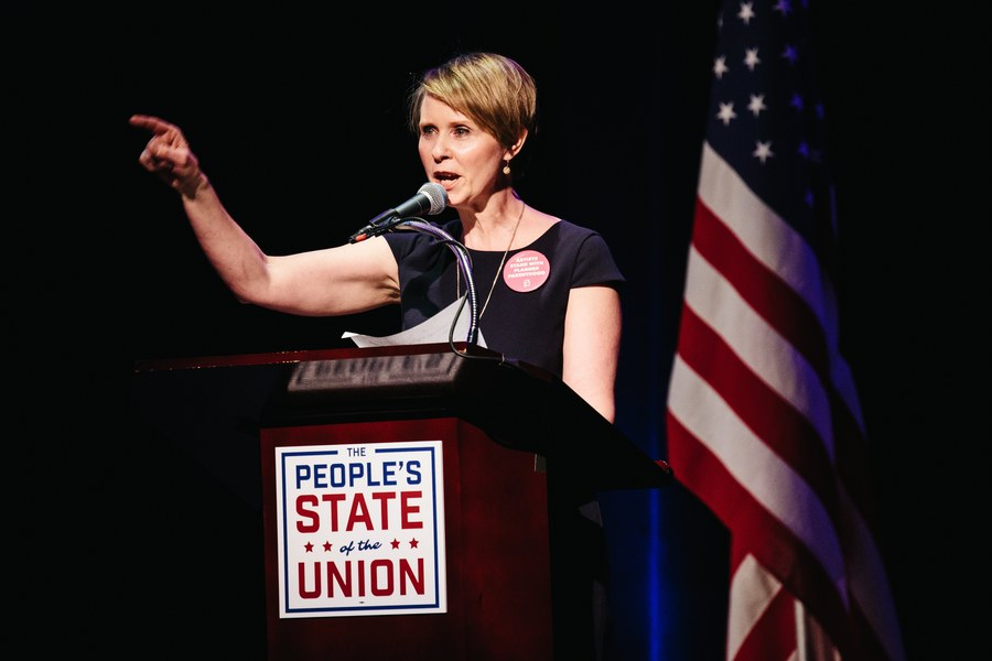 epa06614656 (FILE) - US actress Cynthia Nixon attends 'The People's State of the Union' event in New York, New York, USA, 29 January 2018. The 'The People's State of the Union' is a public alternate to tomorrow's State of the Union speech by President Donald Trump. According to media reports on 19 March 2018 that cite a social media account of Cynthia Nixon, the 'Sex and the City' actress plans to run for New York governor. EPA/ALBA VIGARAY *** Local Caption *** 54074890
