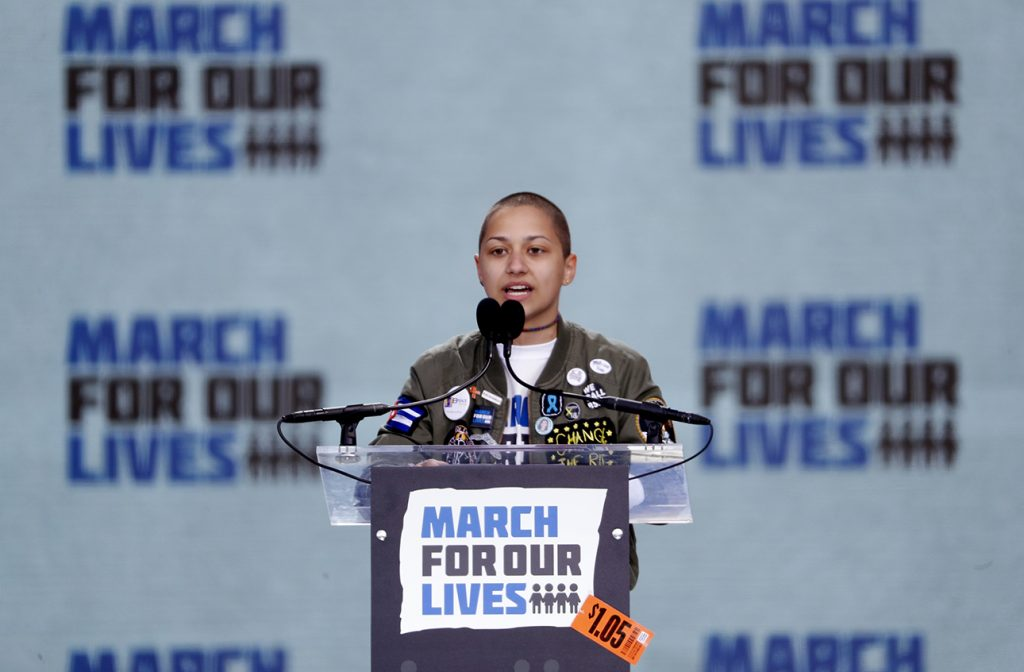 """Emma Gonzalez, a student and shooting survivor from the Marjory Stoneman Douglas High School in Parkland, Florida, addresses the conclusion of the """"March for Our Lives"""" event demanding gun control after recent school shootings at a rally in Washington, U.S., March 24, 2018. REUTERS/Aaron P. Bernstein"""