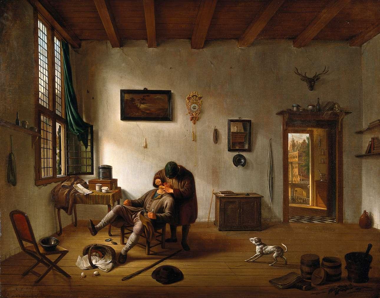 Πίνακας του Hendrik van der Burgh, ο οποίος απεικονίζει το εσωτερικό ενός ολλανδικού σπιτιού και έναν άνδρα να εκτελεί χρέη οδοντιάτρου, 1638–1666
