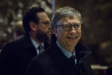 epa05674248 US businessman and philanthropist Bill Gates arrives at Trump Tower in Manhattan, New York, USA, 13 December 2016. The US President-elect Donald Trump is holding meetings at Trump Tower as he continues to fill in key positions in his new administration.  EPA/JOHN TAGGART / POOL