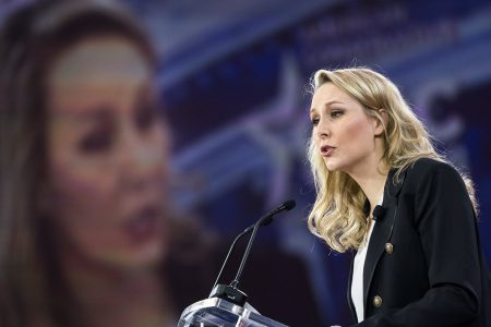 epaselect epa06554579 French politician Marion Marechal-Le Pen addresses the 45th annual Conservative Political Action Conference (CPAC) at the Gaylord National Resort & Convention Center in National Harbor, Maryland, USA, 22 February 2018. President Trump is expected to address the conference tomorrow.  EPA/JIM LO SCALZO