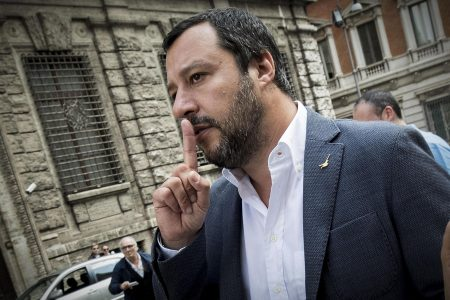 epa06725507 Leader of Lega party Matteo Salvini talks to the media after meeting with Five-Star Movement (M5S) leader Luigi Di Maio (not pictured) in Rome, Italy, 10 May 2018. The leader of the 5 Star Movement (M5S), Luigi Di Maio, and the leader of the League, Matteo Salvini, met to talk about the possible formation of a new government after receiving 24 hours of negotiations on 09 May by President Sergio Mattarella.  EPA/MASSIMO PERCOSSI
