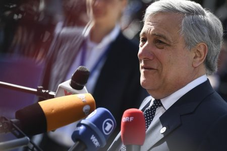 epa06743481 President of the European Parliament, Antonio Tajani arrives at an informal European Union (EU) summit with Western Balkans countries at the National Palace of Culture in Sofia, Bulgaria, 17 May 2018. EU leaders will discuss European future for Western Balkans, and the response to President Trump's policies on trade and Iran.
