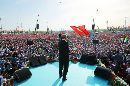 epa06747841 A handout photo made available by the Turkish Presidential Press Office shows Turkish President Recep Tayyip Erdogan speaks during a rally in support of Palestinian people in Istanbul, Turkey, 18 May 2018. According to reports, at least 59 Palestinian people were killed and 2500 injured during clashes between Israel soldiers at demonstrations against opening of US Embassy in Jerusalem on 14 May and the 70th anniversary of Nakba Day, or Day of the Catastrophe, which is marked on 15 May 2018 to commemorate the expulsion of more than 700,000 Palestinians from their land in the war surrounding the establishment of the state of Israel.  EPA/PRESIDENTIAL PRESS OFFICE / HANDOUT  HANDOUT EDITORIAL USE ONLY/NO SALES