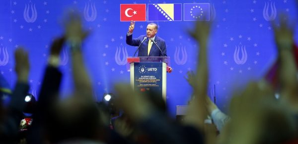 epa06752737 Turkish President Recep Tayyip Erdogan speaks during an election campaign rally of his Justice and Development Party (AK Party) in Sarajevo, Bosnia and Herzegovina, 20 May 2018. Some 10,000 supporters gathered to attend the AKP's rally ahead of the 24 June snap elections in Turkey. The presidential and parliamentary elections were originally scheduled to be held in November 2019, but government has decided the change the date. About three million Turks living abroad are eligible to vote in the election. EPA/FEHIM DEMIR