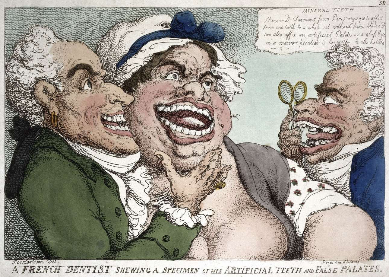2. Thomas Rowlandson, A French dentist showing a specimen of his artificial teeth and false palates, coloured engraving, 1811, Wellcome Collection
