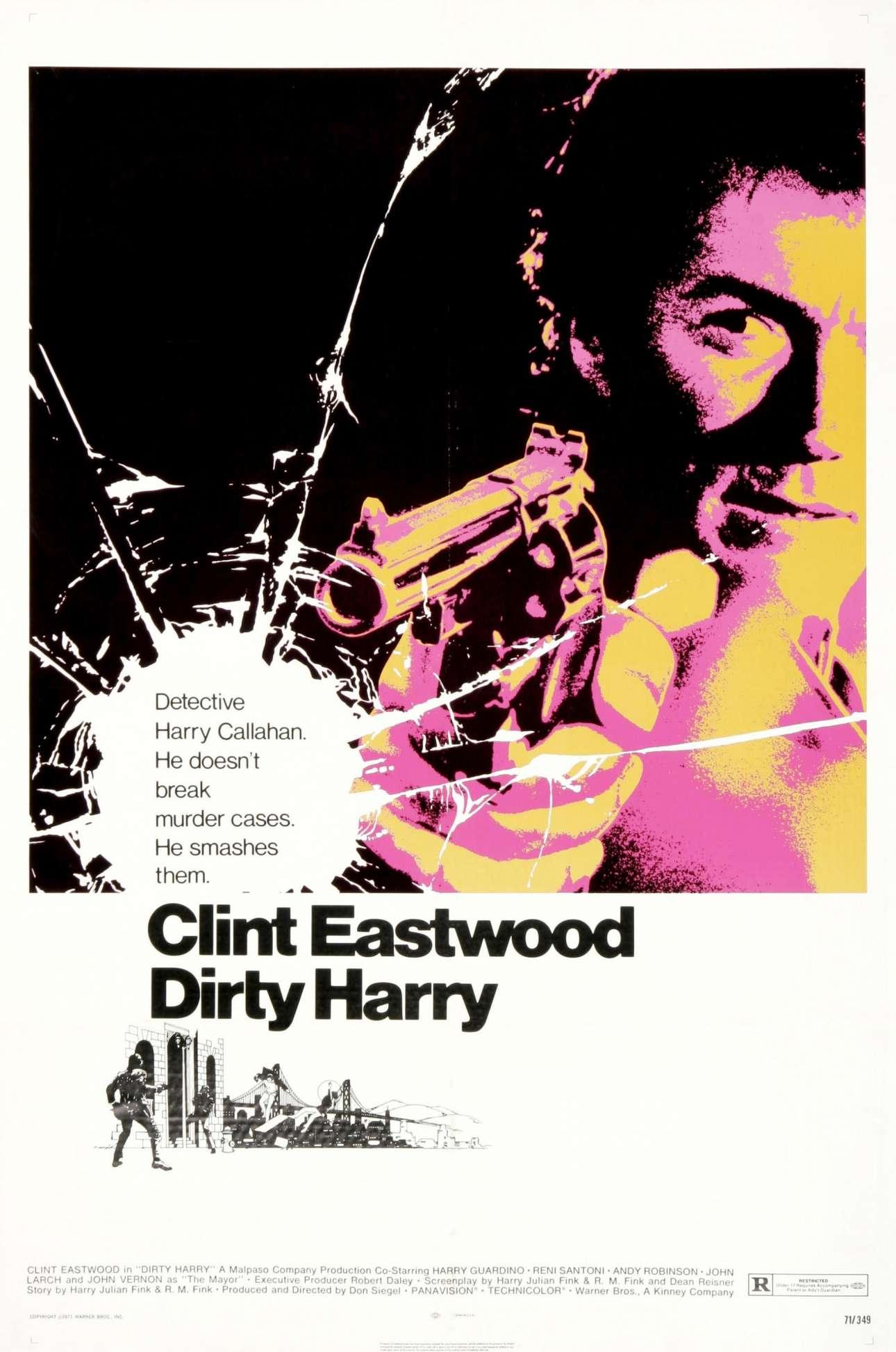 «Βρόμικος Χάρι», 1971. «Εχω δουλέψει σε διαφημιστικές καμπάνιες ταινιών του Αλφρεντ Χίτσκοκ, του Στάνλεϊ Κιούμπρικ και του Φεντερίκο Φελίνι, αλλά η πιο σημαντική μου σχέση είναι με τον Κλιντ Ιστγουντ»