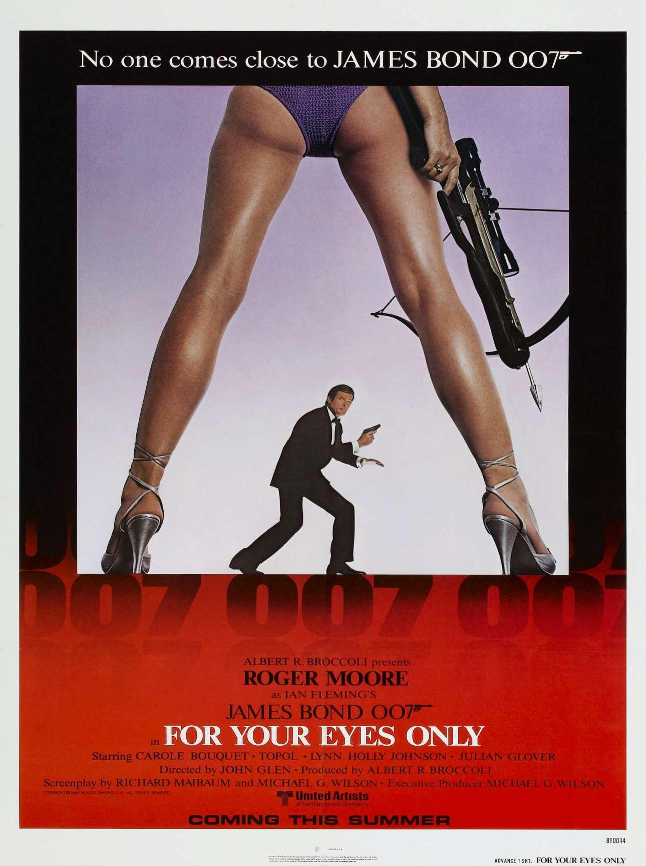Ο Τζέιμς Μποντ στην ταινία «Για τα μάτια σου μόνο», 1981. «Προσπαθούμε να μην πούμε όλη την ιστορία. Προσπαθούμε να πούμε όσο λιγότερα γίνεται από την ιστορία, γιατί οτιδήποτε παραπάνω από αυτό προκαλεί σύγχυση»
