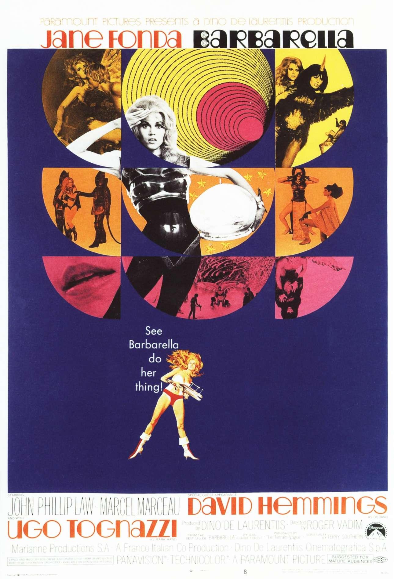 «Μπαρμπαρέλα», 1968. «Πριν από χρόνια, κοίταξα όλα όσα έκαναν η MGM, η Paramount και όλες οι εταιρείες και δεν μου άρεσε τίποτα που είδα. Πάντα έβρισκα λάθος το γεγονός ότι έδειχναν τρία κεφάλια των ηθοποιών, και αυτή ήταν η βασική ιδέα που θα χρησιμοποιούσαν»