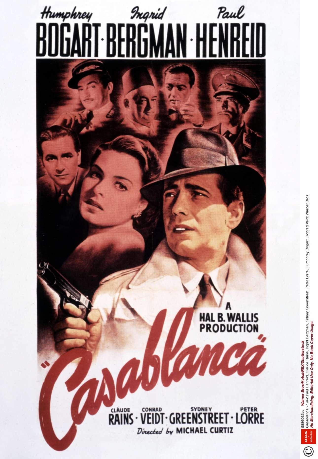 «Καζαμπλάνκα», 1942. «Η πρώτη μου σκέψη ήταν να κάνω ένα κολάζ που θα δείχνει όλους τους χαρακτήρες της ταινίας. Ηθελα να βάλω τον Χάμφρεϊ Μπόγκαρτ μπροστά και στο φόντο την Ινγκριντ Μπέργκμαν να τον κοιτάζει, χωρίς όμως να προδίδω το ρομάντσο. Ο πελάτης το λάτρεψε, αλλά είπε ότι του έλειπε ο ενθουσιασμός, όποτε έβαλα ένα όπλο στο χέρι του Μπόγκαρτ»