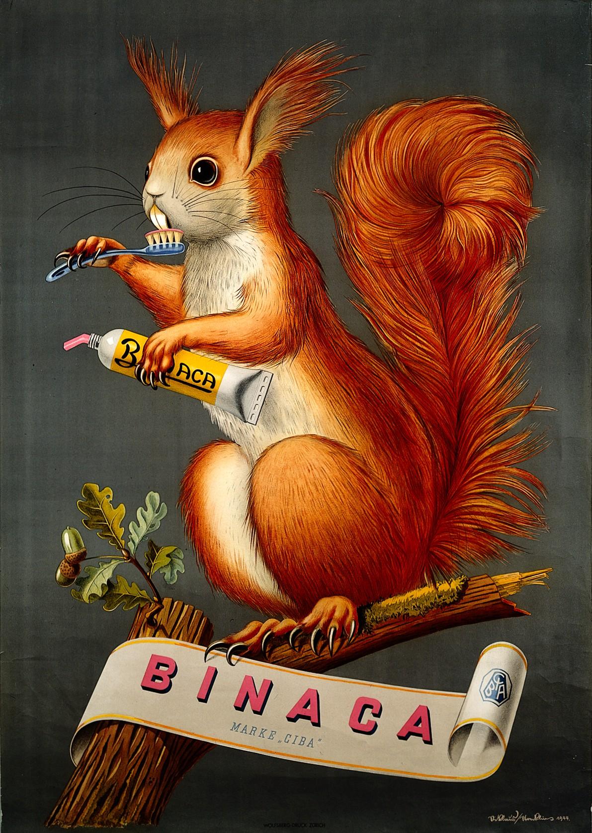 Η εταιρεία Binaca επιστρατεύει το 1944 ένα χαριτωμένο σκιουράκι για να διαφημίσει την οδοντόκρεμά της
