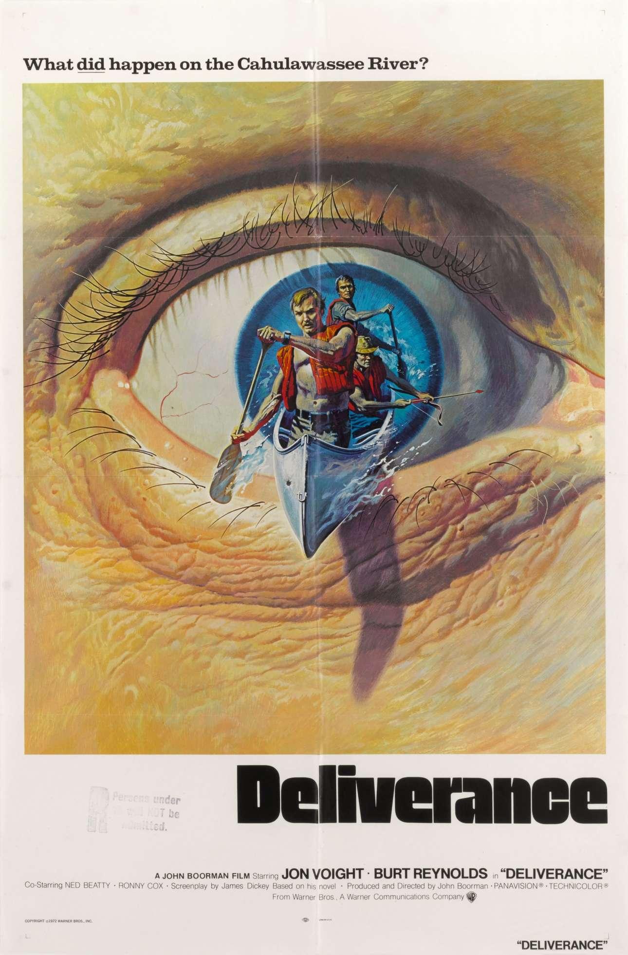 «Οταν Ξέσπασε η Βία» (Deliverance), 1972. Η αφίσα που κυκλοφόρησε στις ΗΠΑ έδειχνε χέρια κρατώντας τουφέκια να ξεπροβάλλουν από το ποτάμι. Ωστόσο, οι υπεύθυνοι για τη διεθνή καμπάνια ήθελαν κάτι λίγο πιο δυναμικό να αναπαριστά μια ταινία για ένα ταξίδι με κανό που μετατρέπεται σε κόλαση. Σκέφτηκα λοιπόν ότι θα ήταν υπέροχο αν είχε μια τρισδιάστατη ποιότητα και το κανό έμοιαζε να βγαίνει από το μάτι ενός από τους χαρακτήρες του νότου»