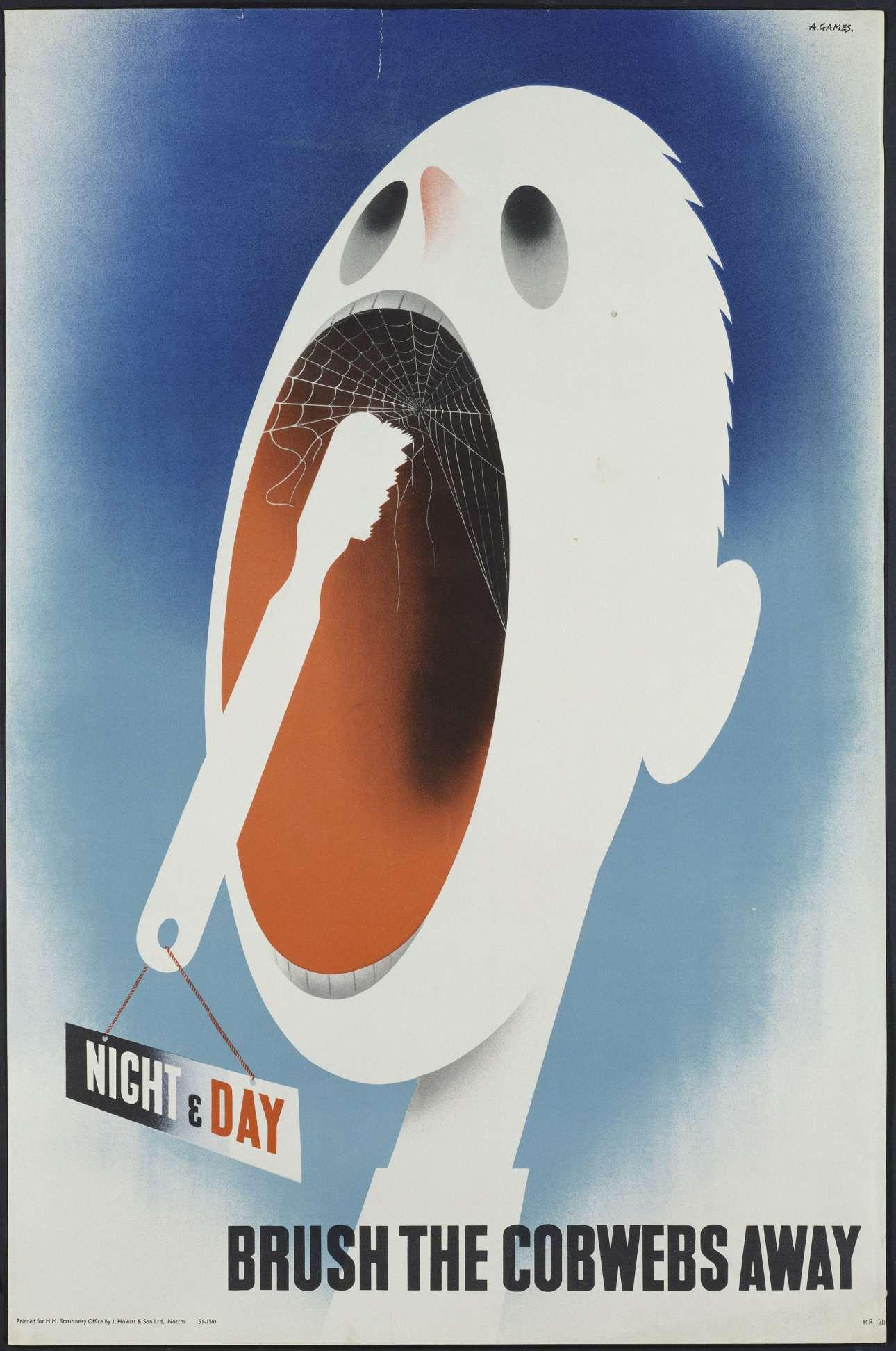 «Βουρτσίστε τους ιστούς της αραχνής μακριά» γράφει η αφίσα του 1945, σχεδιασμένη από τον Αβραάμ Γκέιμς