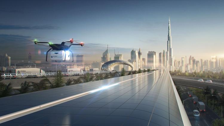 Τα υπερηχητικά τρένα θα συνδράμουν αν χρειάζεται και drones. (φωτό: Foster + Partners)