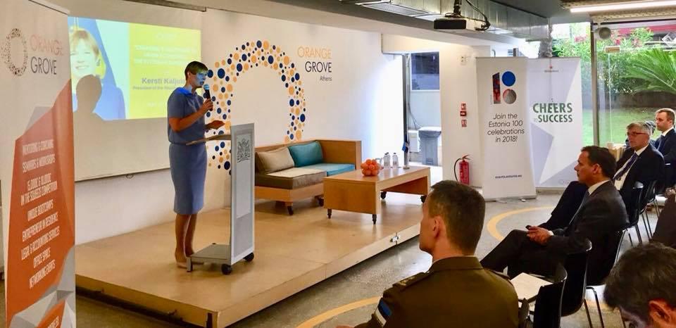 Η εσθονή πρόεδρος κατά τη διάρκεια της ομιλίας της