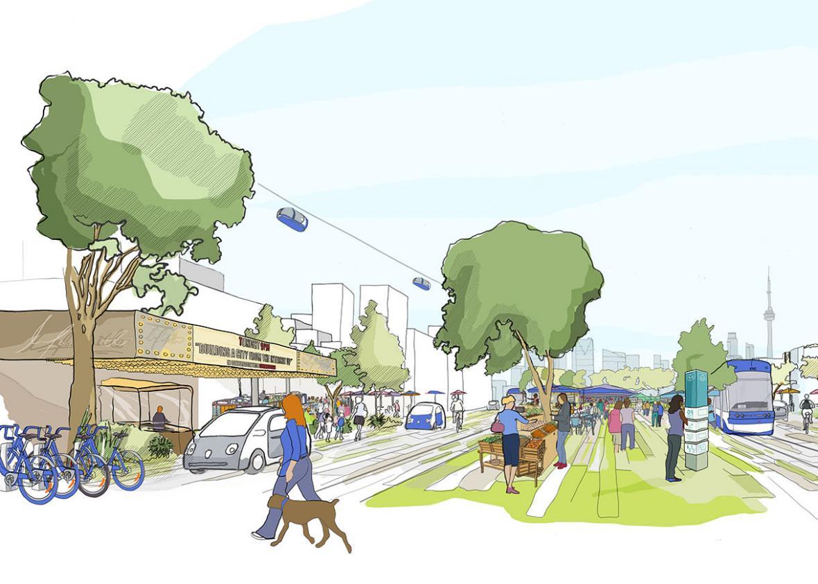 Η πόλη θα είναι έτσι σχεδιασμένη ώστε να ενθαρρύνονται οι κάτοικοι να κινούνται με τα πόδια ή τα ποδήλατα ή με αυτόνομα οχήματα που θα λειτουργούν ως ταξί και λεωφορεία. (φωτό: Sidewalk Labs)