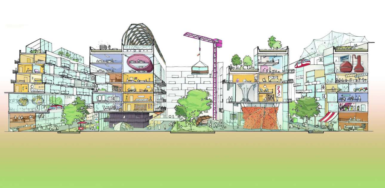 Οι κατοικίες, οι εργασιακοί χώροι και τα εργοστάσια της πόλης θα αποτελούνται από αρθρωτά προκατασκευασμένα κτίρια με πολλαπλά τμήματα που θα μπορούν να αναπροσαρμόζονται αναλόγως της χρήσης τους. Credit: Sidewalk Labs
