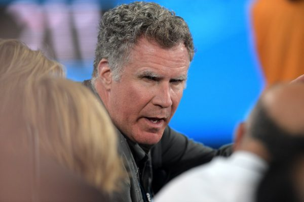 epa06445995 US actor Will Ferrell is seen on Rod Laver Arena during round two on day three of the Australian Open tennis tournament, in Melbourne, Australia, 17 January 2018.  EPA/TRACEY NEARMY AUSTRALIA AND NEW ZEALAND OUT