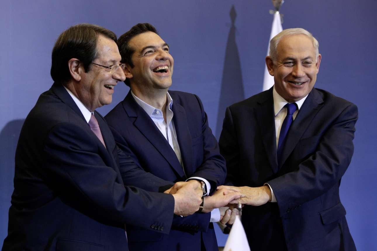 Ιούνιος 2017. Αναστασιάδης, Τσίπρας, Νετανιάχου σε μια όμορφη πόζα μετά την ολοκλήρωση της τριμερούς συνόδου Ισραήλ, Ελλάδας και Κύπρου στη Θεσσαλονίκη