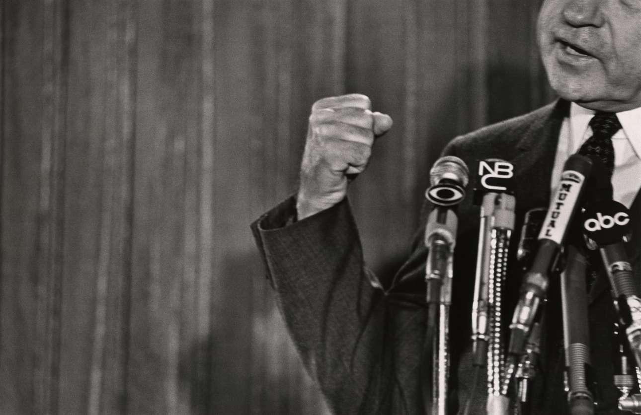 Ο υποψήφιος για την προεδρία των ΗΠΑ Ρίτσαρντ Νίξον στη συνέντευξη Τύπου στην Εθνική Συνέλευση των Ρεπουμπλικανών, το 1968 στο Μαϊάμι Μπιτς