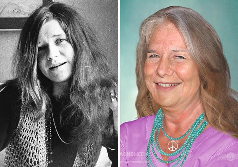 Τζάνις Τζόπλιν Η αμερικανίδα τραγουδίστρια πέθανε το 1970, στα 27 της χρόνια. Σήμερα θα ήταν 75 ετών και θα έμοιαζε με μια πιο μεσήλικη εκδοχή της -επίσης μουσικού- Τζος Στόουν