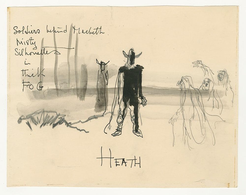 Ιδιαίτερο σκίτσο από την εντυπωσιακά εξπρεσιονιστική ταινία «Μάκβεθ» (1948) του Γουέλς. Απεικονίζει την συνάντηση του ομώνυμου χαρακτήρα με τις μάγισσες