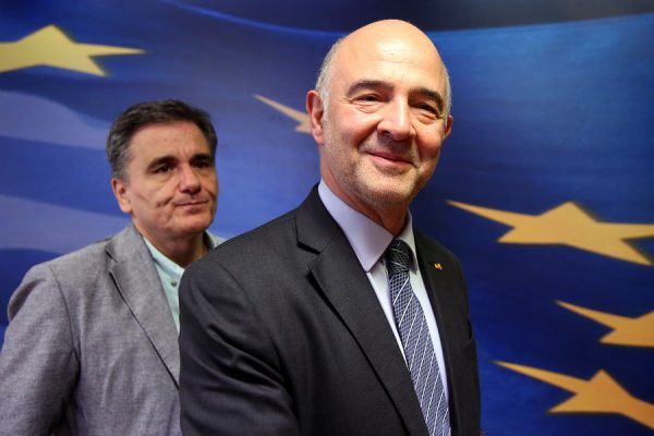 Ο υπουργός Οικονομικών Ευκλείδης Τσακαλώτος και ο Πιερ Μοσκοβισί, επίτροπος Οικονομικών της ΕΕ, κάνουν δηλώσεις στον Τύπο μετά τη συνάντηση τους, Αθήνα Τρίτη 3 Ιουλίου 2018. ΑΠΕ-ΜΠΕ/ΑΠΕ-ΜΠΕ/ΟΡΕΣΤΗΣ ΠΑΝΑΓΙΩΤΟΥ