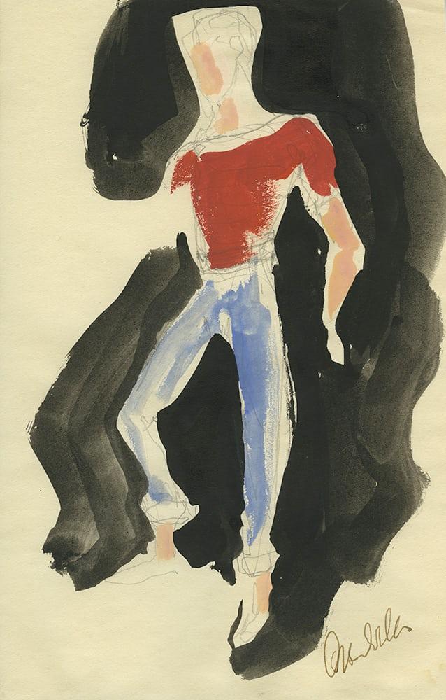 Απρόσωπος νεαρός άνδρας που θυμίζει εικονογράφηση μόδας. «Ο Γουέλς ήταν πολύ καλός στο να ζωγραφίζει πρόσωπα αλλά τις περισσότερες φορές παρέλειπε να το κάνει. Πιστεύω ότι του άρεσε να αφήνει το πρόσωπο κενό για να δημιουργήσει μυστήριο - ακόμα και ένα είδος φόβου» λέει ο Κάζινς