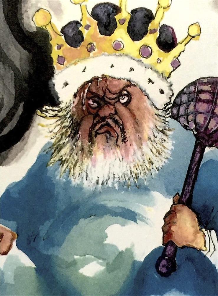 Ο Γουέλς σχεδιάζει τον εαυτό του ως βασιλιά (ο ίδιος αποκαλούταν «βασιλιάς ηθοποιός») σε μια καρτουνίστικη καρικατούρα - αυτοπροσωπογραφία για το ειδικό τεύχος της Vogue αφιερωμένο σε αυτόν