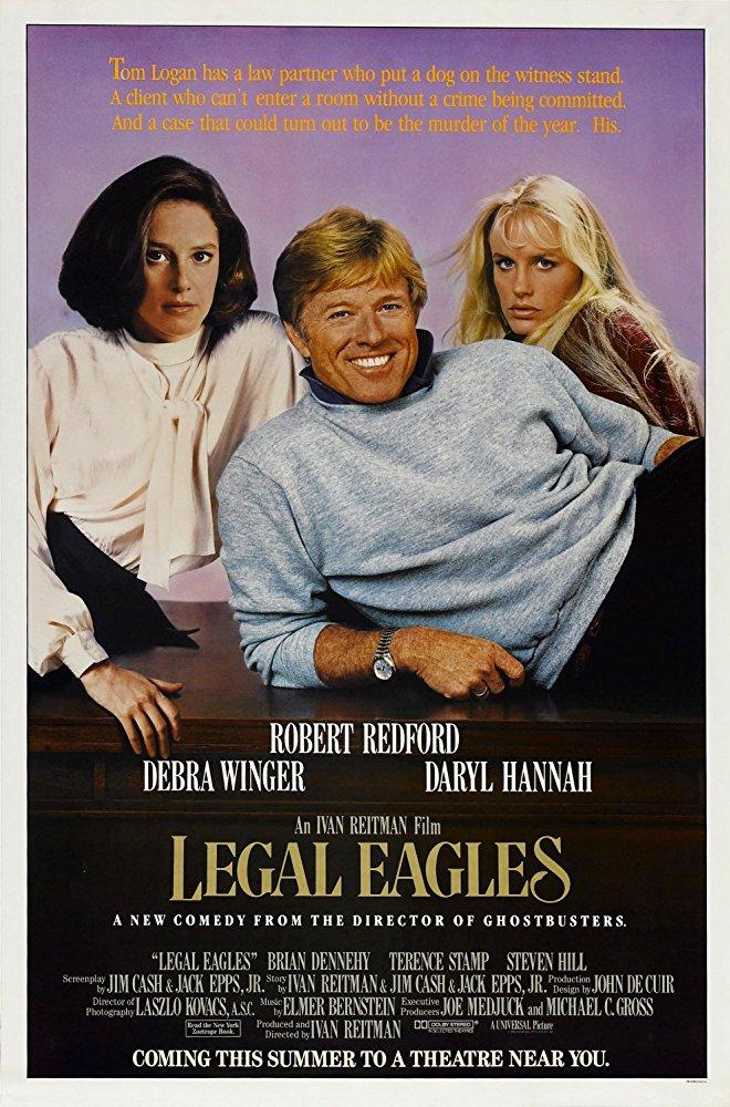 Η αφίσα της ταινίας «Legal Eagles» (1986), η οποία στην Ελλάδα προβλήθηκε με τον τίτλο «Τρεις και μοναδικοί»