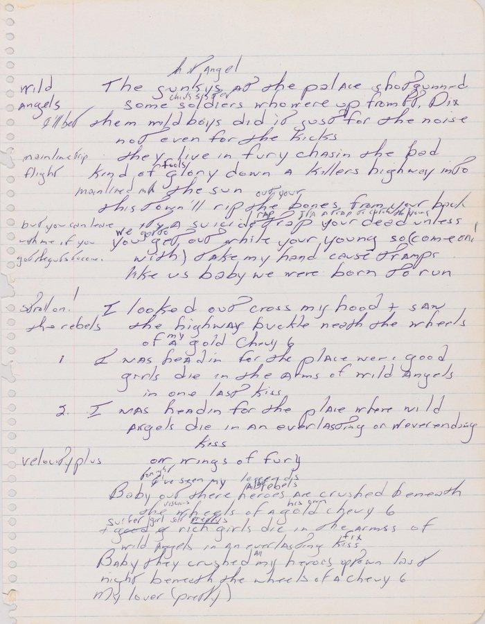 To χειρόγραφο του Σπρίνγκστιν με τους στίχους του «Born tο Run». Πωλήθηκε το 2013 σε πλειστηριασμό από τον οίκο Sothebys έναντι 197.000 δολαρίων
