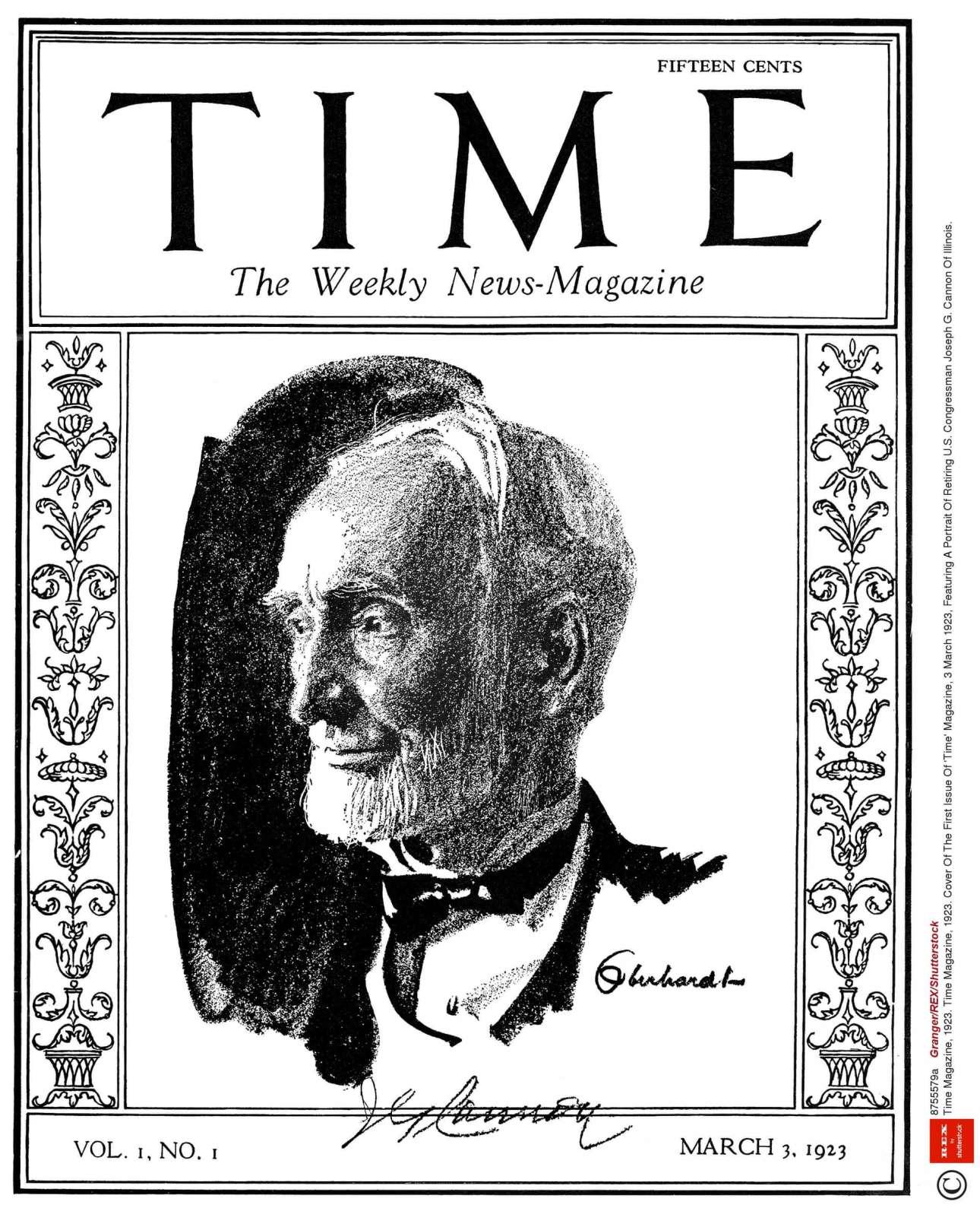 Χωρίς να είναι κάτι εντυπωσιακό, το πρώτο εξώφυλλο του Time στις 3 Μαρτίου 1923 εικόνιζε τον βουλευτή από το Ιλινόι Τζόζεφ Κάνον που μόλις είχε ανακοινώσει ότι αποσύρεται έχοντας συμπληρώσει σχεδόν 50 χρόνια στο Κογκρέσο