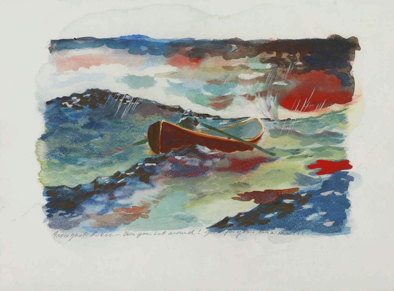Ζωγραφιά από το σκηνικό της ταινίας «Ο Ξεχωριστός Γουίλ Χάντινγκ» με σημείωση από τον σκηνοθέτη Γκας Βαν Σαντ που γράφει: «Από τον Γκας στον Ρόμπιν - γύρισε τη βάρκα σου! Μπράβο σου! Εύκολο»