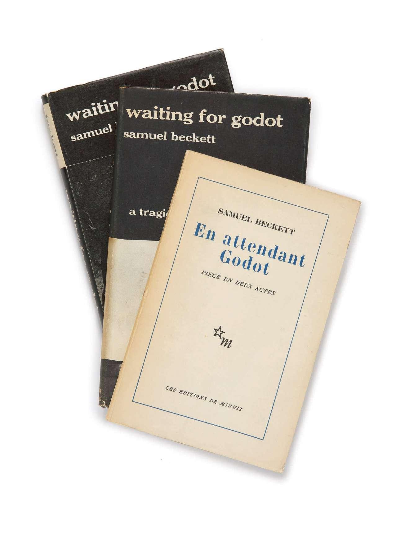 Τρεις πρώτες εκδόσεις του «Περιμένοντας τον Γκοντό». Ο Γουίλιαμς είχε πρωταγωνιστήσει στο θεατρικό έργο μαζί με τον Στιβ Μάρτιν και τον Φ. Μάρεϊ Εϊµπραχαµ