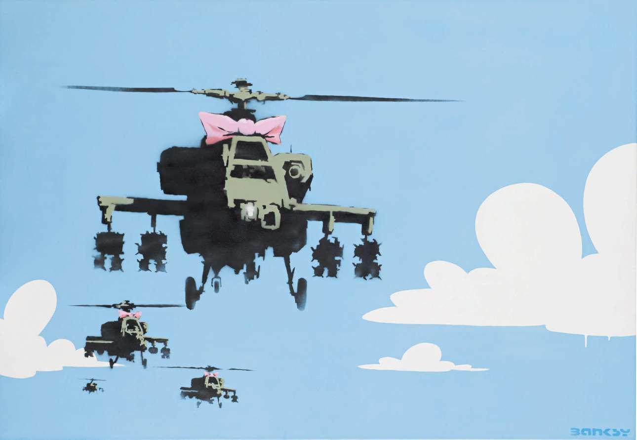Εργο του Banksy με τίτλο «Happy Choppers» («Χαρούμενα Ελικόπτερα»)