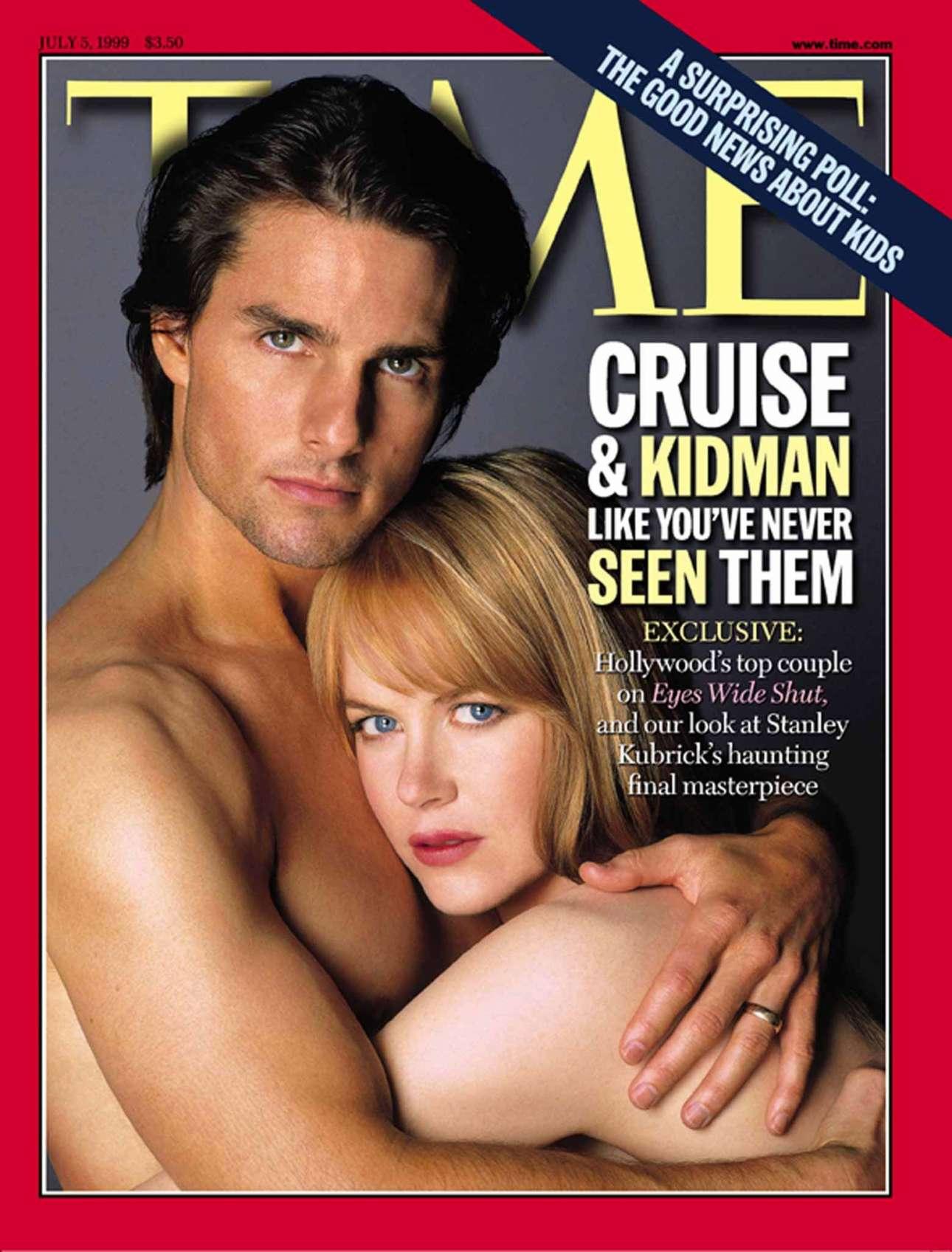 Ο Τομ Κρουζ με την τότε σύζυγό του Νικόλ Κίντμαν ποζάρουν ημίγυμνοι και αγκαλιασμένοι με αφορμή την ταινία «Μάτια Ερμητικά Κλειστά» το 1999. Ηταν όμως το κύκνειο άσμα του Στάνλεϊ Κιούμπρικ αυτό που διέλυσε τον γάμο τους;