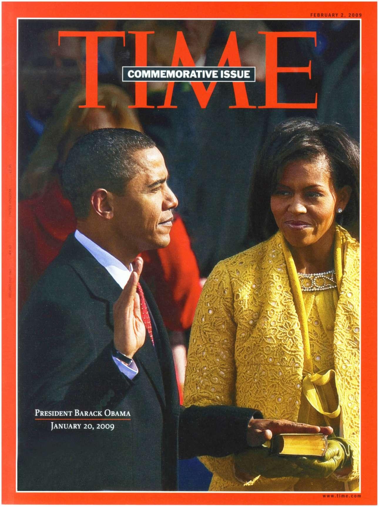 Αναμνηστικό και συλλεκτικό το τεύχος της 2ας Φεβρουαρίου 2009 με την ιστορική στιγμή της ορκωμοσίας του Μπαράκ Ομπάμα υπό το βλέμμα της συζύγου του Μισέλ