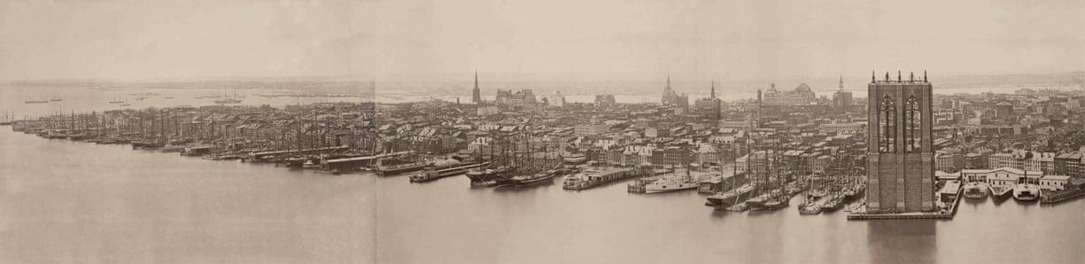 1876: Το Μανχάταν, με τη Γέφυρα του Μπρούκλιν  (δεξιά) υπό κατασκευήν