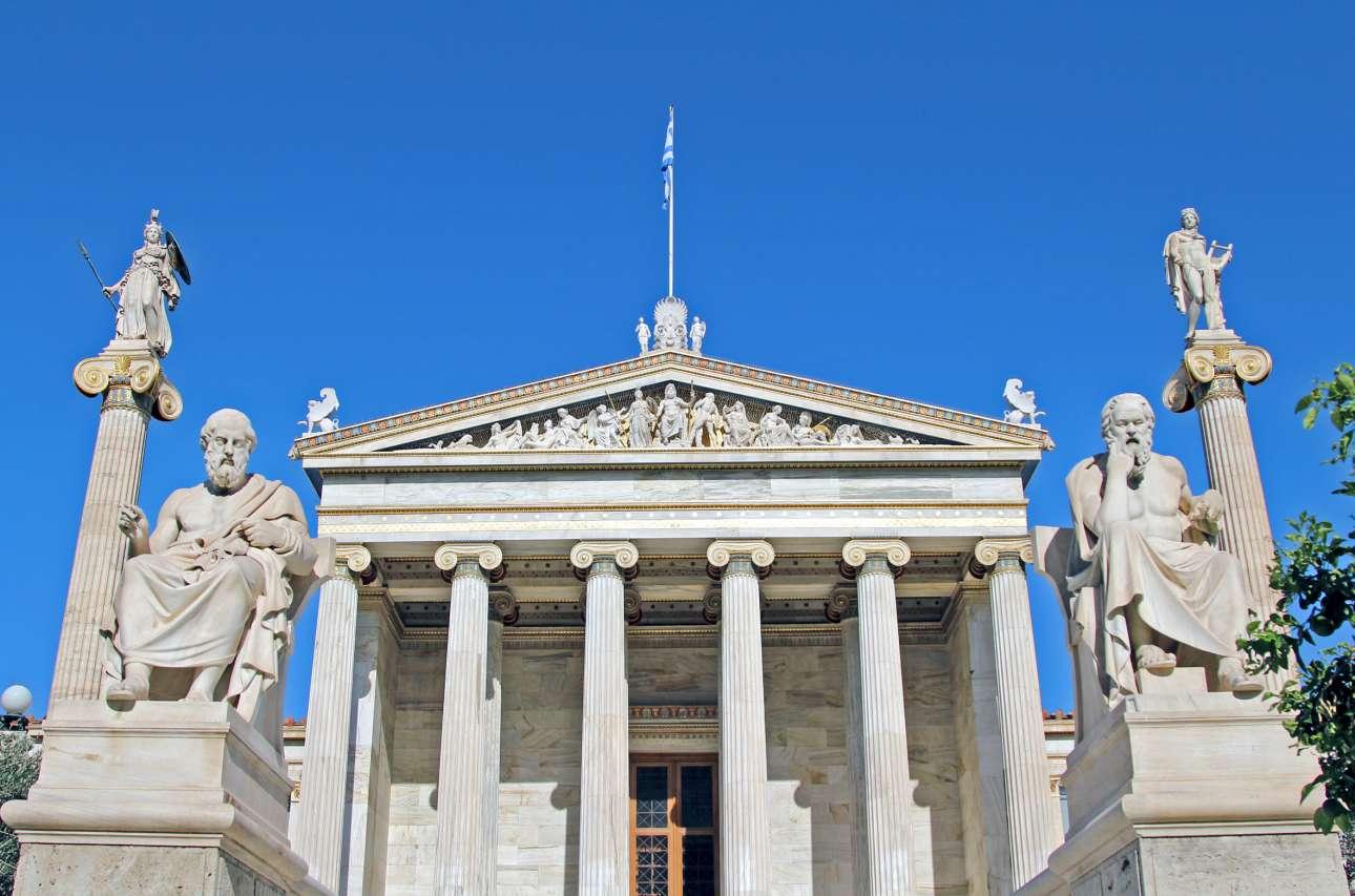 Το αριστοτεχνικά φιλοτεχνημένο αέτωμα της Ακαδημίας Αθηνών παριστά τη γέννηση της Αθηνάς