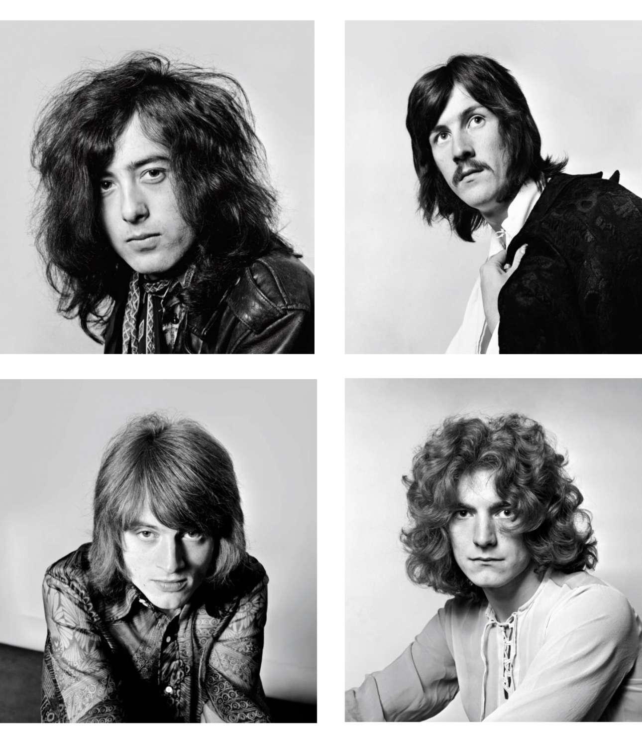 Από αριστερά και δεξιόστροφα: Τζίμι Πέιτζ, Τζον Μπόναμ, Τζον Πολ Τζόουνς και Ρόμπερτ Πλαντ με χαρακτηριστικό βρετανικό στιλ, φωτογραφίζονται από τον Ντικ Μπάρνατ, το 1968
