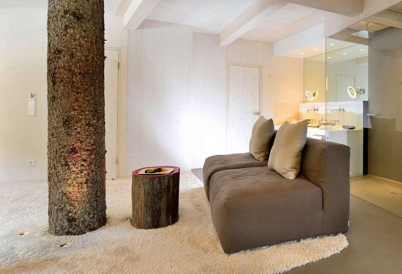 Το εσωτερικό του δεντρόσπιτου (35τμ) βρίσκεται σε ύψος 3,5 μέτρων και είναι εξοπλισμένο με όλες τις σύγχρονες ανέσεις