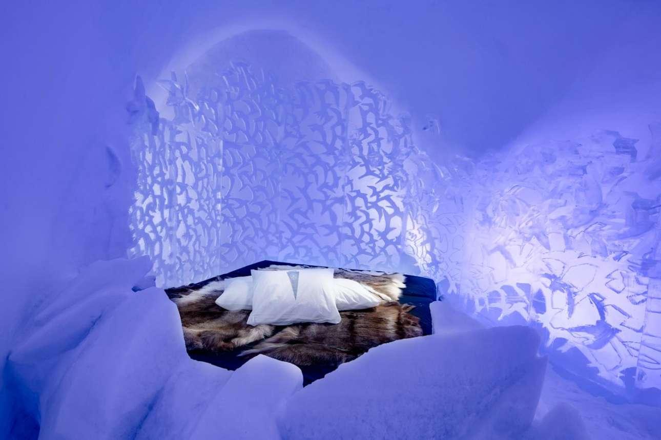 Ενα σμήνος πουλιών φτιαγμένο περίτεχνα από πάγο περιμένει να υποδεχτεί τον πρώτο επισκέπτη