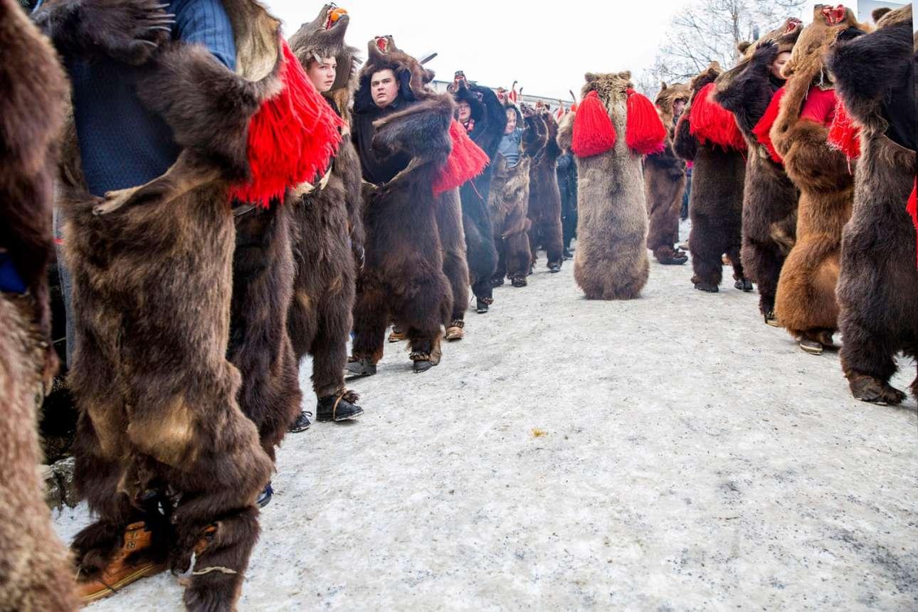 Επιλαχών στην κατηγορία Νέο Ταλέντο. Ο χορός της αρκούδας στο Κομανέστι: ένα ρουμανικό τελετουργικό όπου συμμετέχοντες χτυπούν κουδούνια, κλαδιά και τύμπανα για να διιώξουν τα κακά πνεύματα