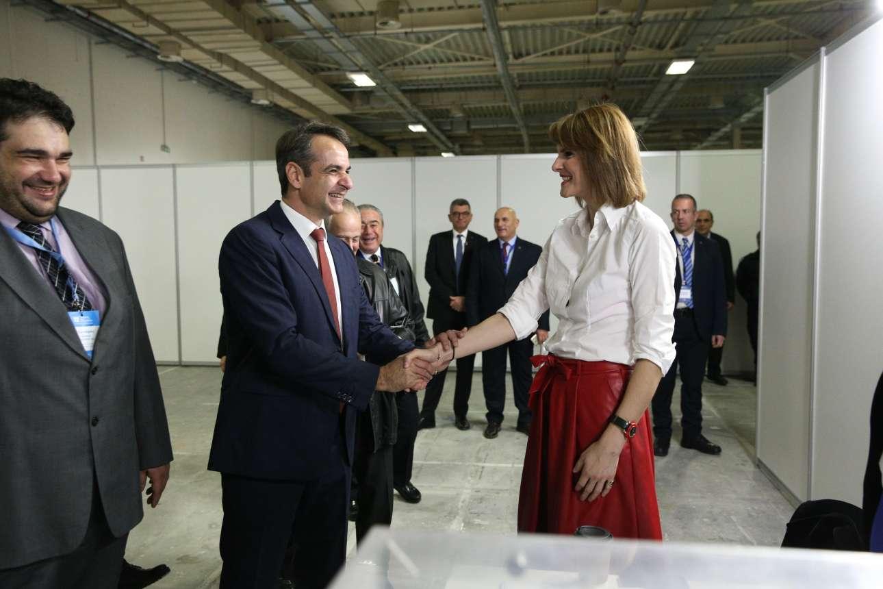 Ο πρόεδρος της ΝΔ με την βουλευτή Κατερίνα Μάρκου
