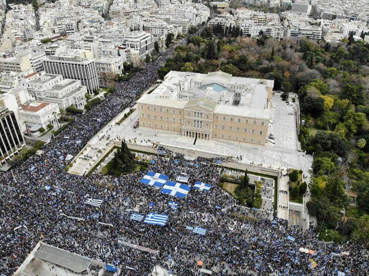 Το μαζικό συλλαλητήριο φωτογραφημένο από ψηλά