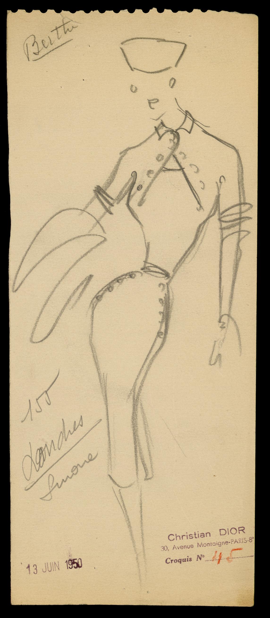 Σχέδιο για τη χειμερινή συλλογή υψηλής ραπτικής του 1950