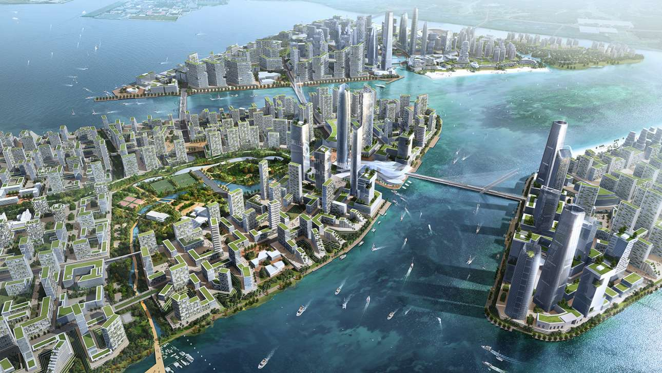 Το απίστευτα φιλόδοξο σχέδιο της Μαλαισίας ακούει στο όνομα «Η Πόλη των Δασών», ή αλλιώς η «Πόλη του Μέλλοντος». Τα έξυπνα κτίρια της οικολογικής πόλης θα καλύπτονται από πράσινο, με στέγες από διασυνδεδεμένα πάρκα, όπου κάποιος θα μπορεί να περπατάει χωρίς να χρειαστεί να κατέβει στο επίπεδο του εδάφους. Η «Πόλη των Δασών» χτίζεται πάνω σε τέσσερα τεχνητά νησιά και θα ολοκληρωθεί το 2035