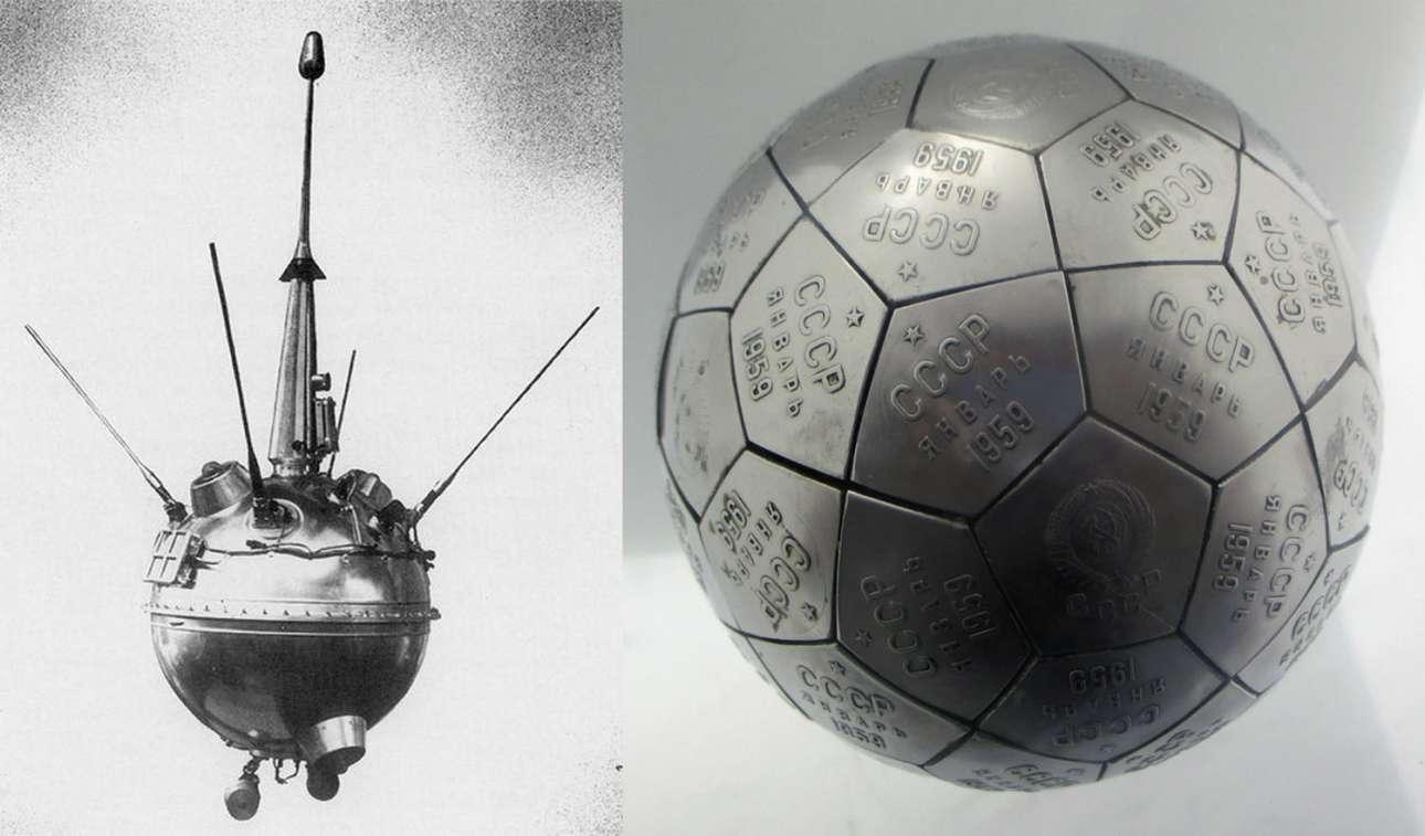 Το Luna 2 ήταν η πρώτη διαστημική συσκευή που έφτασε στο φυσικό μας δορυφόρο. Εκτοξεύτηκε από τη Σοβιετική Ενωση στις 12 Σεπτεμβρίου 1959 και έφτασε στον προορισμό της ύστερα από 34,5 ώρες και ταχύτητα 10.460 χλμ την ώρα. Στα δεξιά είναι το αντίγραφο του «λαβάρου» που κουβαλούσε, ανοξείδωτα εμβλήματα που γράφουν ΕΣΣΔ και είχαν ως στόχο να σκορπιστούν στην επιφάνεια της Σελήνης και να επισημάνουν τη σοβιετική παρουσία, αλλά εξαιτίας της δυνατής πρόσκρουσης εξατμίστηκαν